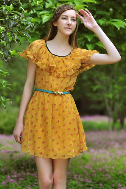 Flower Pattern Flouncing Short Sleeve Mini Dress - Oasap High Street Fashion