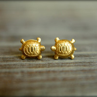 Little Turtle Earring Studs in Raw Brass, Stainless Steel Posts