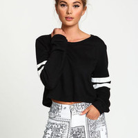 Varsity Stripes Cropped Sweater - LoveCulture