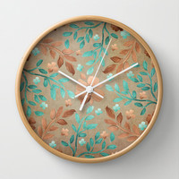 Copper Autumn Wall Clock by Lisa Argyropoulos