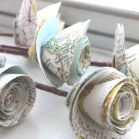 paper roses repurposed atlas small set of 5 by dragonflies