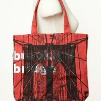 Funtote Brooklyn Bridge Side Zipper Tote Bag - Red/ Black - Punk.com
