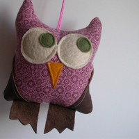 Eco Pink Floral Owl by designlab443 on Etsy
