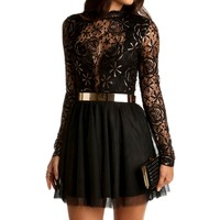 Black Mockneck Lace Dress