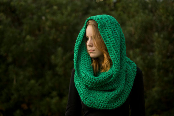 Oversized Hooded Cowl, Infinity Scarf, Green, Christmas in July Sale, CIJ
