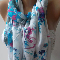 Shawl for Summer / Blue  Roses - Elegance Shawl / Scarf / soft and light-