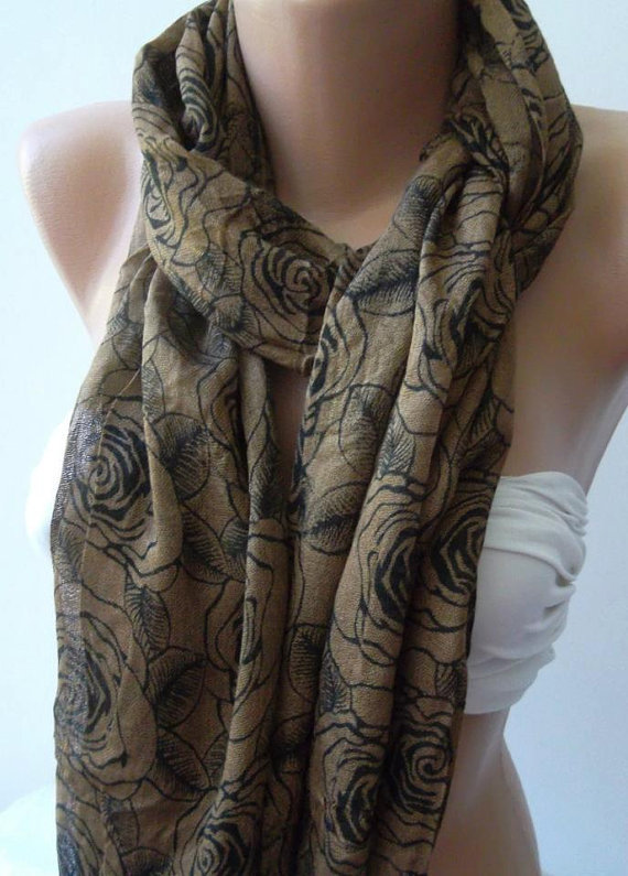 Shawl for Summer / Caramel  Roses - Elegance Shawl / Scarf / soft and light-