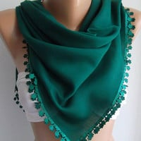 Green - Shawl with Lace - Turkish Shawl - Anatolians Scarf - Very Soft cotton fabric-