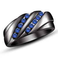 Men's Sapphire Accent Slant Anniversery Ring in 925 Silver & 14K Black Gold