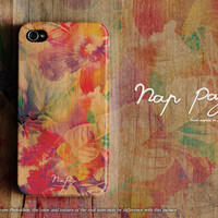 Apple iphone case for iphone 5 iphone 5s iphone 5c iphone 4 iphone 4s iPhone 6 iphone 6 plus : abstract flowers on wood (not real wood)
