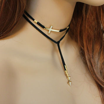 Lariat Necklace, Black Suede Gold Sideways Cross Choker, Upper Arm Bracelet, Spiritual Everyday Jewelry