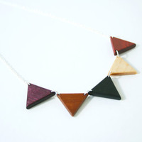 Large Wooden Bunting Necklace in Natural Woods- MADE TO ORDER
