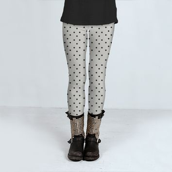 Black and white polka dots by Allyson Johnson (Leggings)