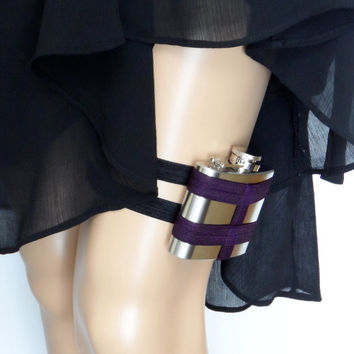 Adjustable Flask Garter 4oz Flask  - Baltimore Ravens inspired - nfl