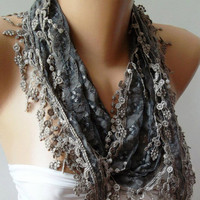 Grey / Elegance  Shawl /Scarf with Lacy Edge--