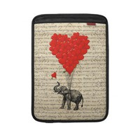 Elephant and heart shaped balloons sleeve for macbook air from Zazzle.com