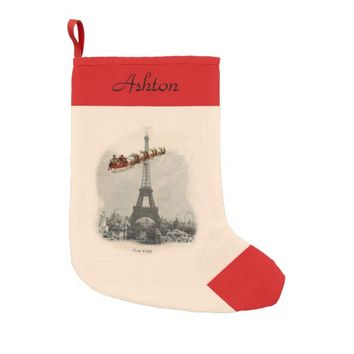 Vintage Santa over Paris Personalized Stocking