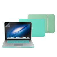 GMYLE(R) Turquoise 4 in 1 Rubberized (Rubber Coated) Hard Case Cover - Soft Sleeve Bag and Silicon Keyboard Protector - 15 inches Clear LCD Screen Protector - MacBook Pro 15 inch with Retina display