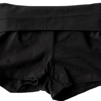 Fold Over Yoga Style Cotton Spandex Shorts