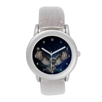 Owl and Night Sky Silver Glitter Strap Watch