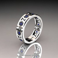 Womens Modern Armenian 14K White Gold Blue Sapphire Wedding Band R535F-14KWGBS