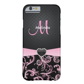 Elegant Black and Pink Floral Pattern