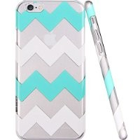 iPhone 6 Case, ESR the Beat Series Protective Case Bumper[Scratch-Resistant] [Perfect Fit] Translucent Hard Back Cover with Mint and White Chevron Pattern [Wave Patten] for 4.7 inches iPhone 6 (Green Chevron)