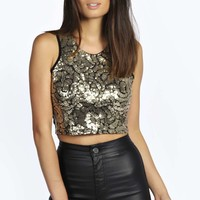 Stephanie All Over Sequin Crop Top