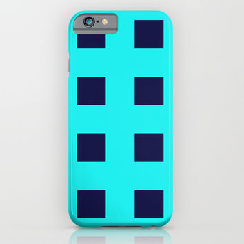 Cross Squares Navy Turquoise iPhone & iPod Case by Beautiful Homes