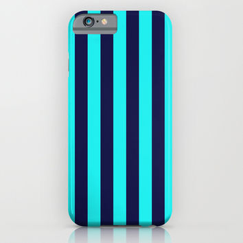 Stripe Vertical Navy Turquoise iPhone & iPod Case by Beautiful Homes