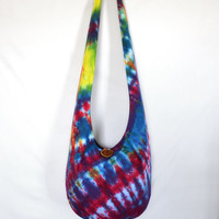 Sling Bag, Hobo Bag, Tie Dye, Colorful, Psychedelic, Striped, Blue, Red, Hippie Purse, Crossbody Bag