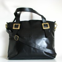 Leather Handbag Buckle Tote, Black on Luulla
