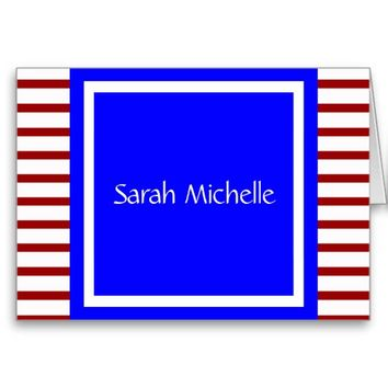 Cute Red White & Blue Personalized Note, w Stripes