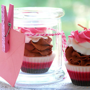 Handmade Cupcake Candle Gift, choose your flavors, comes in a jar with lid, birthday, baby shower, wedding, engagement  anniversary gift