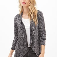 LOVE 21 Marled Knit Open-Front Cardigan Black/Ivory