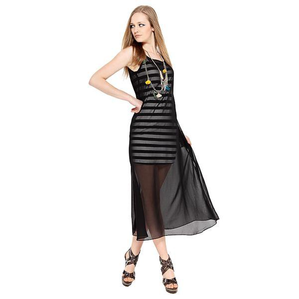Bqueen Striped Chiffon Dress Black NH15H - Designer Shoes|Bqueenshoes.com