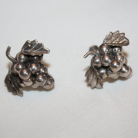 Sterling Grape Mexico Earrings 1960s  Jewelry