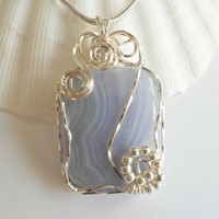 Wire Wrapped Blue Lace Agate Pendant, Handmade Jewelry, elainesgems