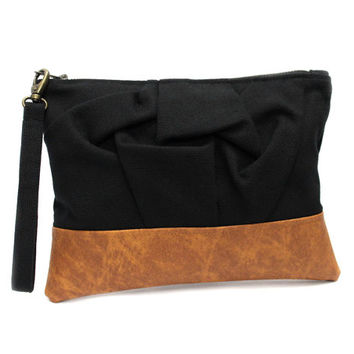 Black Wristlet Purse, Fabric Leather Bag, Black Brown Clutch, Vegan Leather Purse, Big Wristlet Clutch, Black Brown Bag, Black Clutch Purse