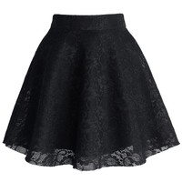 Black Full Lace Skater Skirt Black