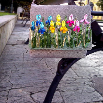 EXCLUSIVE EMBROIDERED HANDBAG- Iris Tote Bags -Crossbody Bag- Handbag - Shoulder bag -Woman Bag-gift Christmas - New Year gift-Purses