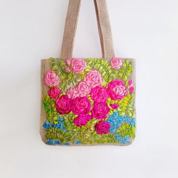 Rose Tote bags - Blue,pink, green - Handbag - Shoulder bag - Woman Bag - Large bag- Canvas Tote-gift Christmas - New Year gift