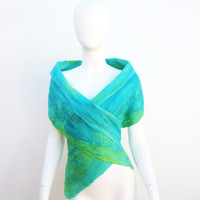 Sea Green Silk Merino Wrap Aqua Wool Vest Blue Green Nuno Felt Scarf