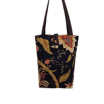 Black tote bag with botanical print, Black handbag floral, Black purse floral, Black shoulder bag,Orange tote bag, Orange purse floral