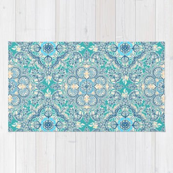 Gypsy Floral in Teal & Blue Area & Throw Rug by micklyn