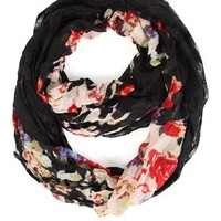 Floral Print Woven Infinity Scarf with Lace
