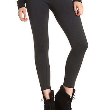 High Rise Faux Fur-Lined Leggings by Charlotte Russe - Charcoal