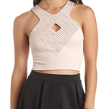 Racer Front Rhinestone Crop Top by Charlotte Russe - Blush