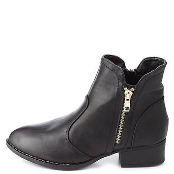 Dollhouse Double Zip Ankle Boots by Charlotte Russe - Black