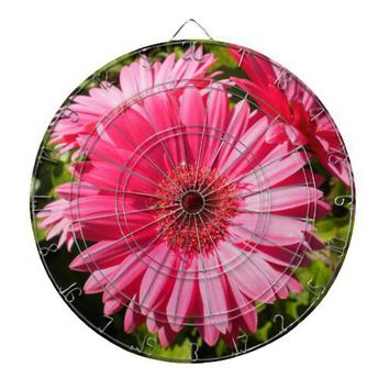 Pink Gerbera Daisy Dartboard from Zazzle.com